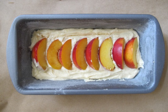 Nectarine cake, before baking!