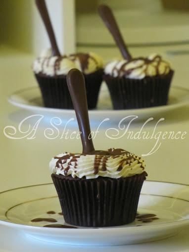 Chocolate Baileys Cupcakes topped with a Chocolate Spoon