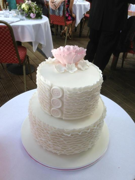 Back of Ruffle Peony Cake, Button Detail