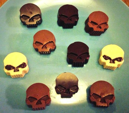 Spooky chocolate skulls by Amy Bugg