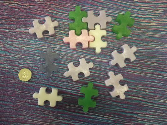 Jigsaw Puzzle soaps made with our mould by Lydia Graham