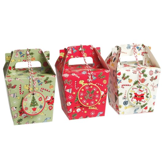 Christmas carnival boxes with tags