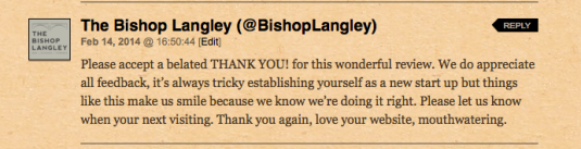 Bishop Langley reply