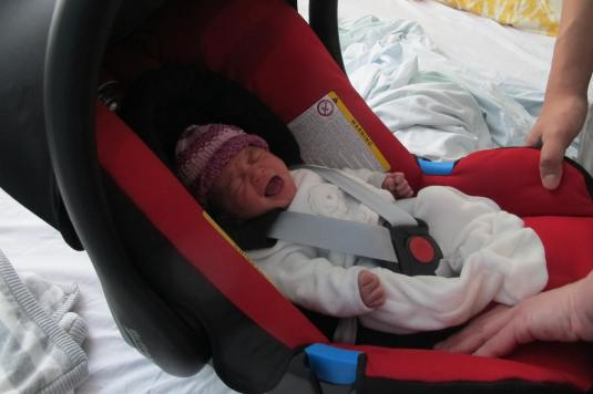 Bless, little lamb in her carseat