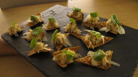 Dressed Crab with Fennel on Cracker